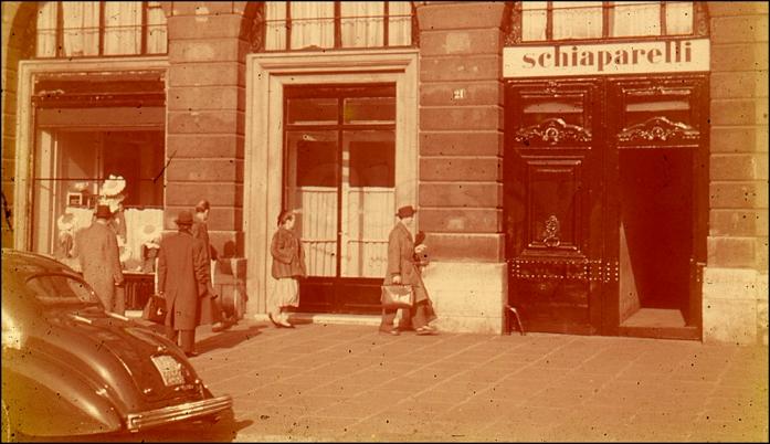 """Elsa Schiaparelli's """"Schiap Shop"""" Place Vendôme, Paris, 1950"""