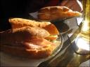 Sandwich in the golden beer light at Café Palais Royal