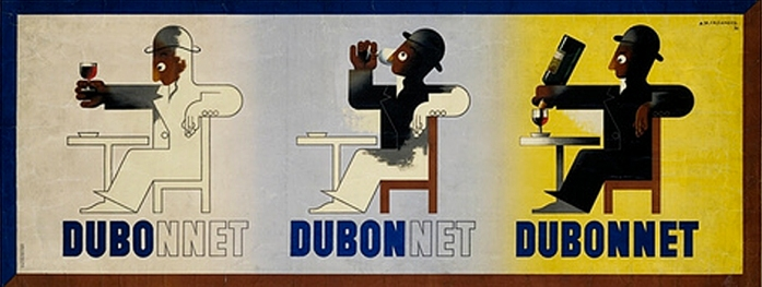Dubonnet by A.M.Cassandre, 1932 (One of the first billboards created for automobiles)