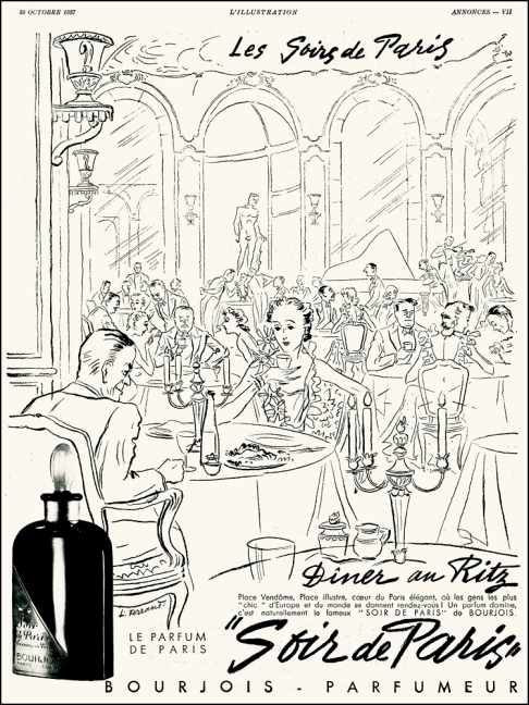Illustrated by Louis Ferrand, Soir de Paris by Bourjois, Ritz Paris, L'Ilustration, 1937