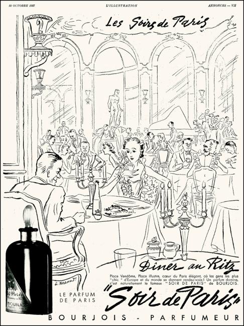 Illustrated by Louis Ferrand, Soir de Paris by Bourjois, Ritz Paris, L'Ilustration, 1937