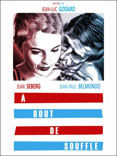 Where did Godard score Patricia's striped dress? (Credit: Movieposterdb)