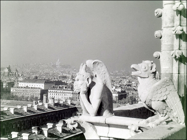Notre Dame with Sacré Coeur and Montmartre in view (Travel Slide, 1950)