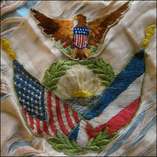 SOUVENIR DE FRANCE, SILK PILLOW, WWI, DETAIL