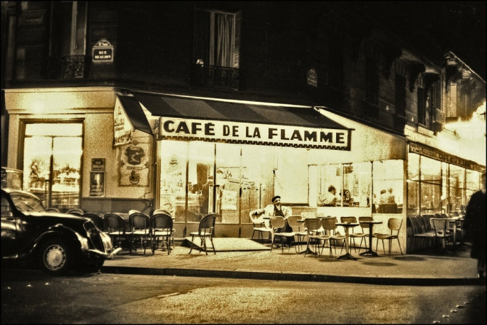 Cafe de la Flamme (near the Arc de Triomphe) by Maurice Sapiro, Paris, 1956