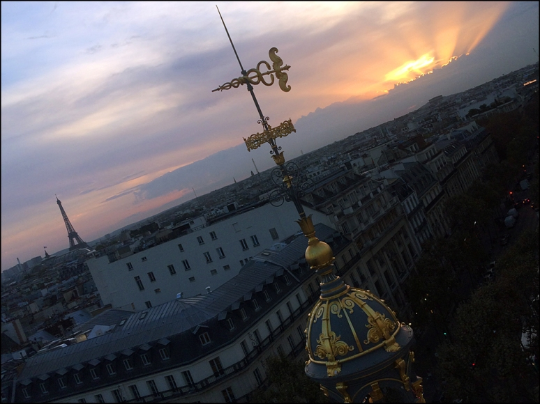 Up, Up and Away in Paris! View of the Eiffel Tower from the rooftop at Printemps (Photos by Theadora Brack)