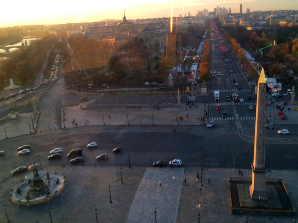 View of the Luxor Obelisk, the Fountaine des Mers, the Grand Palais, the Arc de Triomphe, and the Champ-Élysée