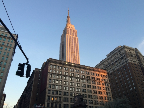 View of the Empire State Building from Macy's at Herald Square at l'heure bleue