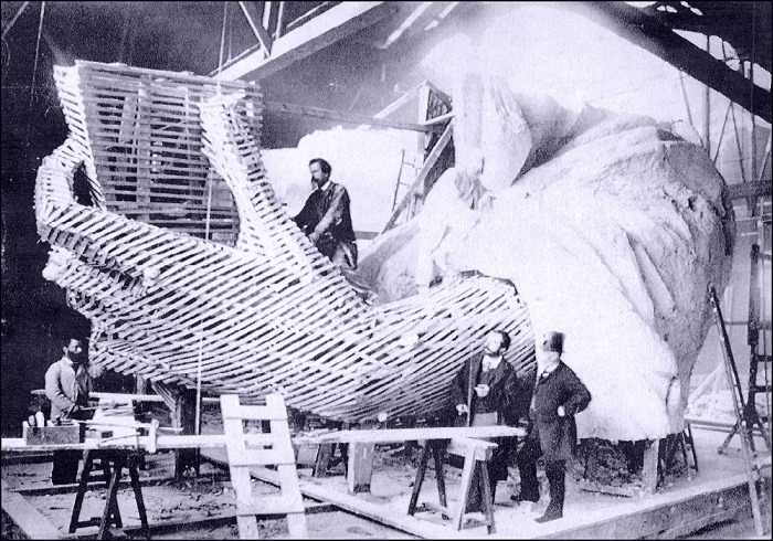La Statue de la Liberté, Gaget, and Gauthier Co., Paris, 1882 (Bartholdi is on the right without hat)