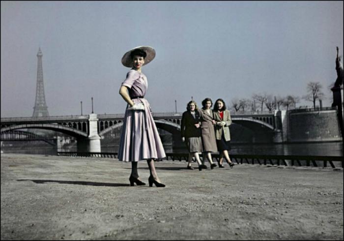 """Dior's """"New Look"""" and La Statue de la Liberté by Combat Photographer Robert Capa, Paris, 1948"""