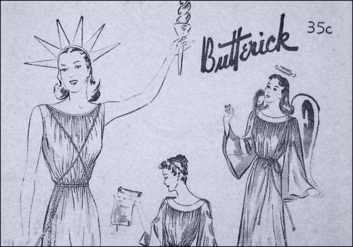 """Imagine if Dior had designed a stunning little """"New Look"""" number for our Top Model Liberty friend (T. Brack's Collection: Butterick Pattern, 1940s)"""