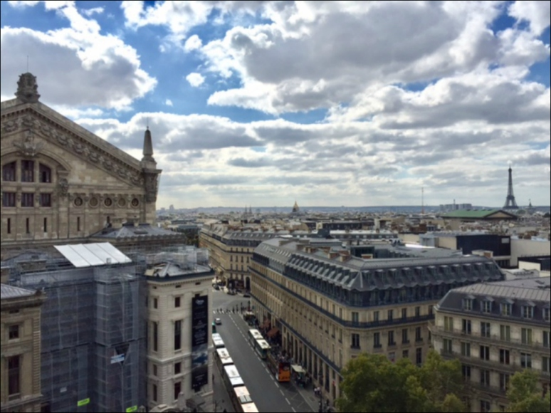 View of the Opera and the Eiffel Tower from Galeries Lafayette's rooftop (Photo by Wendy Brack-Fritz)