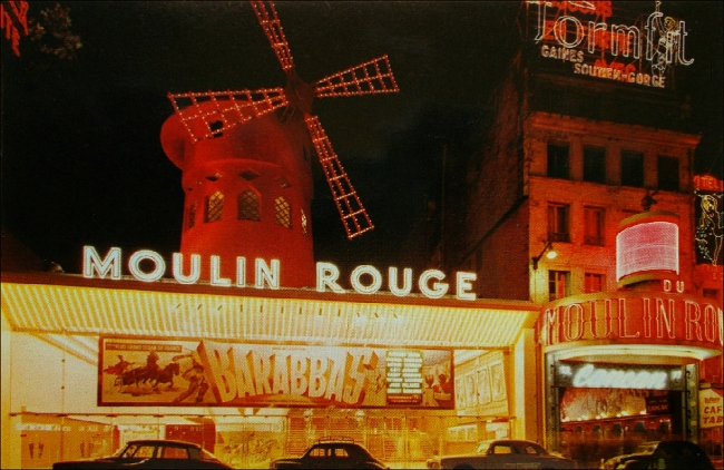 The Moulin Rouge still shines (Moulin Rouge, 1960s, Postcard, Theadora Brack's collection)