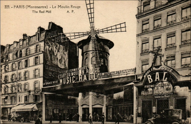 Hitchcock made several scouting trips to the Moulin Rouge (Postcard, 1920s, T. Brack's collection)