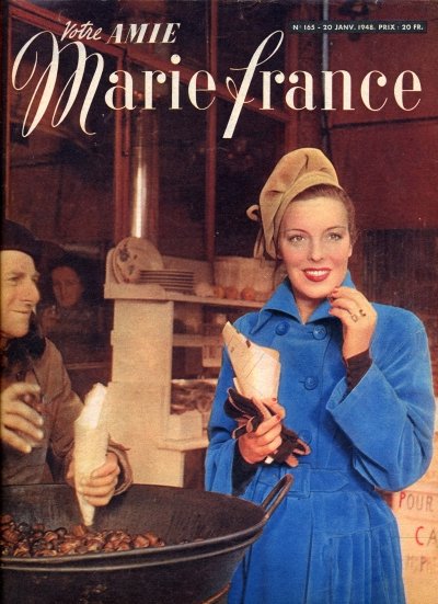 First Stop: Marrons grilles! My Treat! (Votre Amie Marie France, January 1948, Magazine, T. Brack's archives)