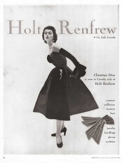 Holt Renfrew ad featuring Christian Dior, 1951 (Vogue, Theadora Brack's Collection)