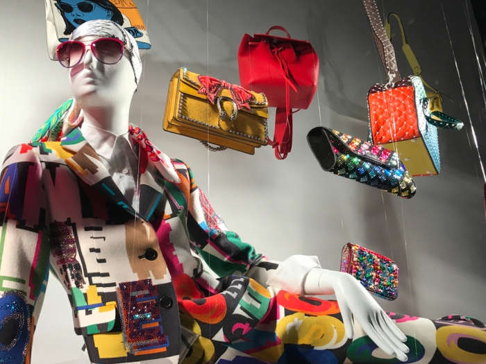 HURTLING INTO THE BEAUTY SPOTLIGHT: IT'S RAINING BEADED BAGS ON FIFTH AVENUE, SO DON'T FORGET YOUR SUNNIES, BUCKETS, AND WHEELBARROWS, TOO (PHOTO BY THEADORA BRACK)