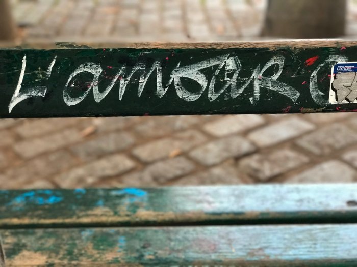 Favorite Bench at Place Émile-Goudeau: L'Amour Court Les Rues by Artist and photographer Wilfrid Azencoth (Photo by Theadora Brack)