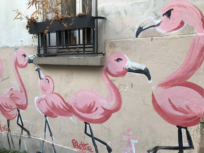 Pretty in Pink: Flamingos holding court at Place Émile-Goudeau and rue Berthe (Photo by Theadora Brack)