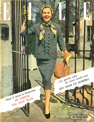 Fall Inspo: Why not rock the vote and head-to-toe grey with a splash of mustard? (Elle, 1951, T. Brack's collection)