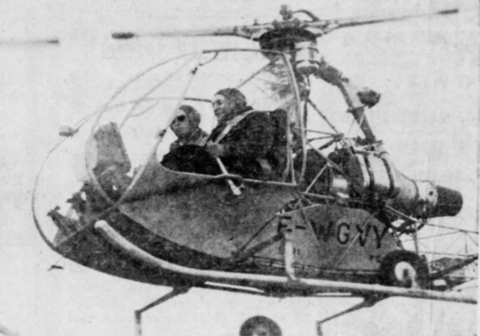 Marie at the joystick: Heroes don't always wear capes. Sometimes they rock the world with powder boxes, bikes, and helicopters, instead (Newspaper Clipping,1955)