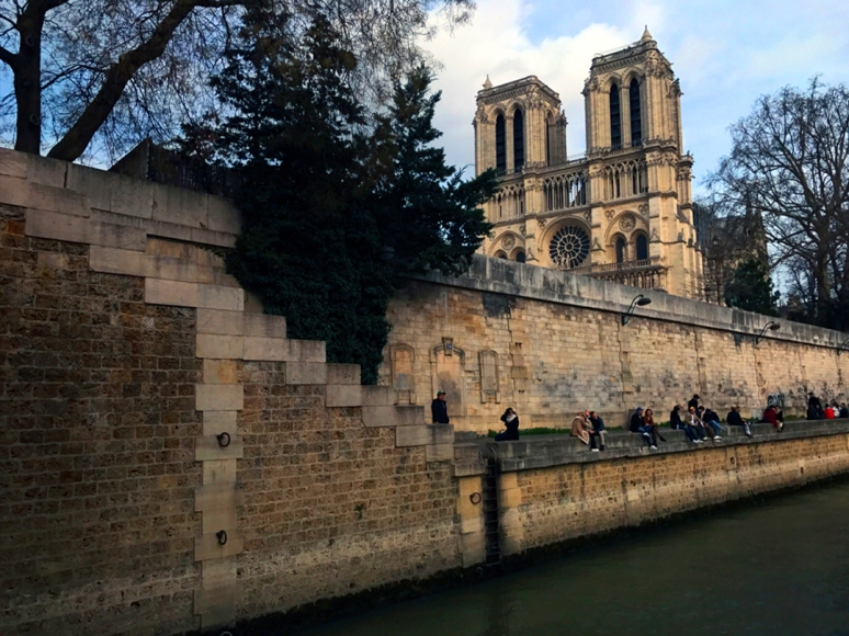 Thanks to the courageous firefighters and emergency workers, Notre-Dame's Grand Organ and bell towers were saved (Photo by Theadora Brack, March 2019)