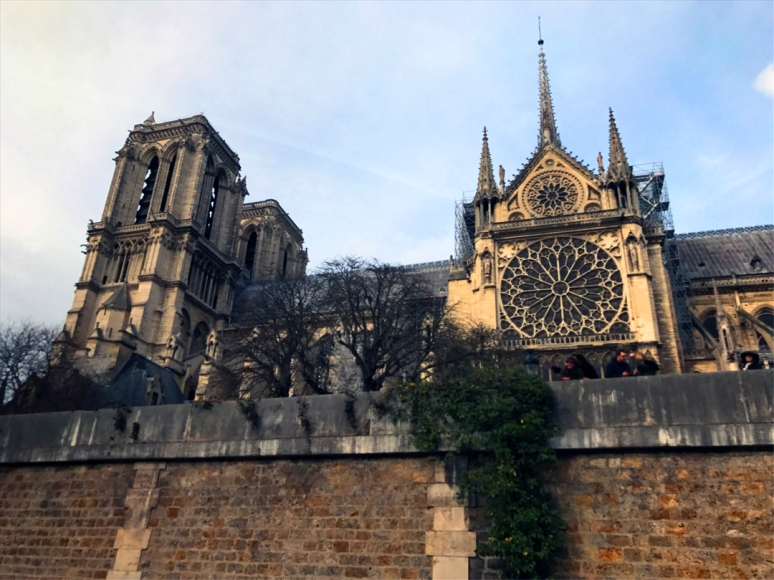 Since 1856, the bells of Notre-Dame have rung every fifteen minutes. They also rang to mark the end of World War I and the liberation of Paris in 1944 (Photo by Theadora Brack, March 2019)