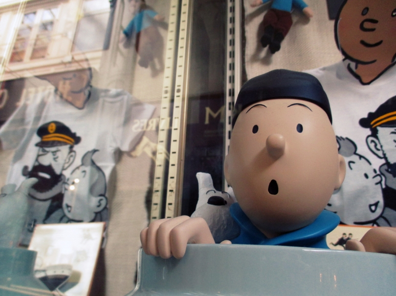 Where's Tintin? Why, he's still trapped in the vitrine at the bustling Toy Box boutique, looking cute as a button. Someone please purchase this world-famous globe trotting fella. #FreeTintin (Photo by Theadora Brack)