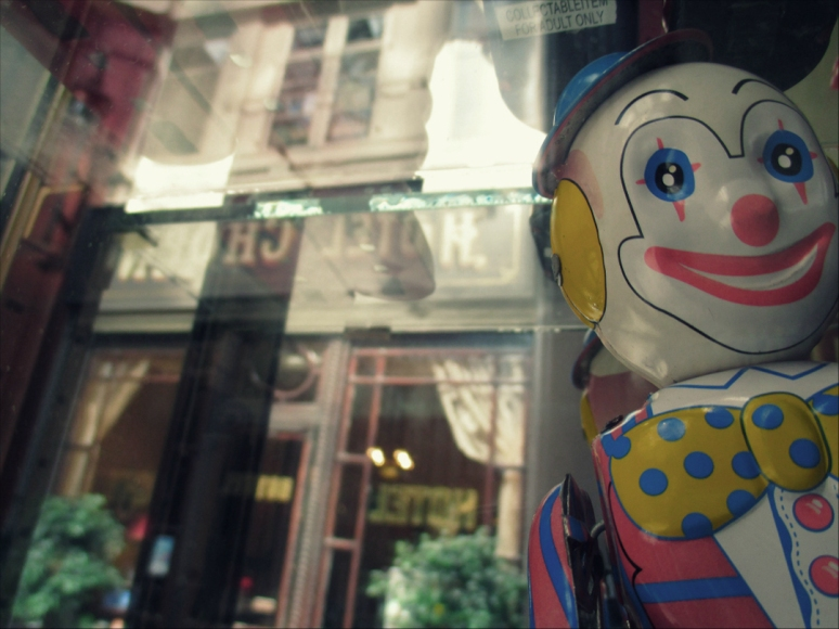 How much is that photo-bombing clown in the window? For the love of bright red lipstick and polka dots, meet my new BFF, ready for the Big Top at the Toy Box boutique in the Passage Jouffroy. (Photo by Theadora Brack)