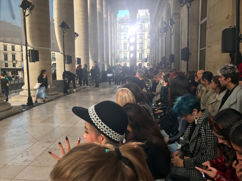 Dispatch from the K-Collection show: I spotted gift bags filled with K-beauty facial masks, crystal manicures, blue tresses, and irresistible bejeweled felt caps at the Palais Brongniart, historical home of the Paris stock exchange. (Photo by Theadora Brack)