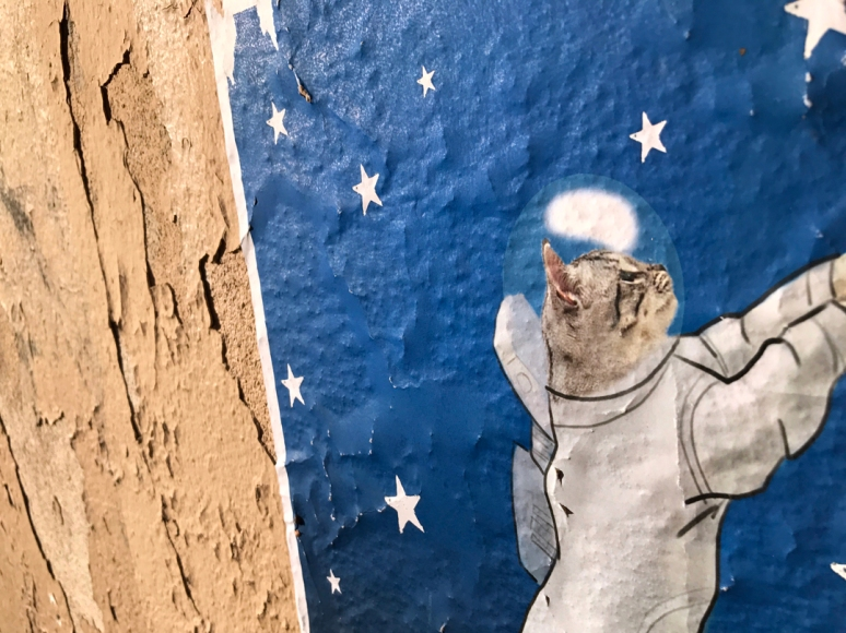 Ground Control to Major Kitty: Cat-Related Street Art is still having a moment in Paris, Space Tabby by @_kvich, Montmartre (Photo by Theadora Brack)