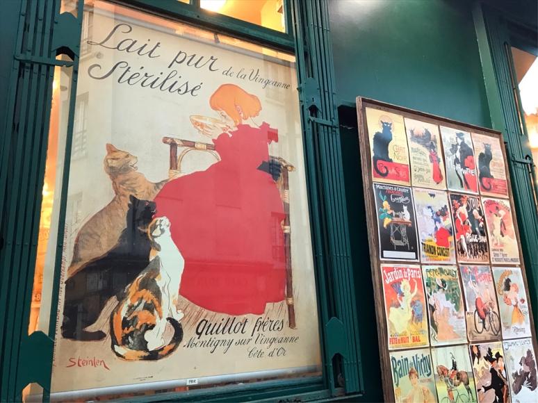 No big surprise: My childhood bedroom was plastered with Théophile Steinlen posters, Lait Pur de la Vingeanne Stérilisé 1894, Souvenir Shop, Montmartre (Photo by Theadora Brack)