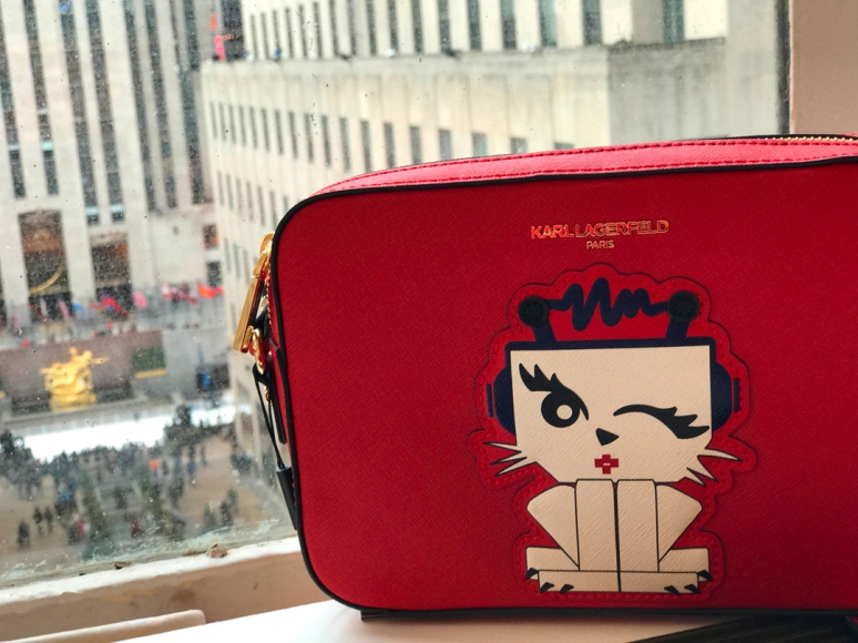 Here's a photo of my final purchase at Lord & Taylor: A red cat bag by Karl Lagerfeld. RIP, Lord & Taylor and Monsieur Lagerfeld, too. (Photo by Theadora Brack)